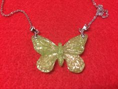 Green Resin Butterfly Pendant on Stainless Steel by 3GEMerations
