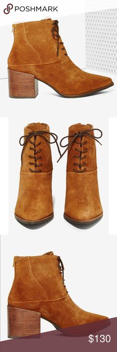 """Suede Pointy Toe Lace Up Ankle Booties Tan Suede distinguishes the look of this lace-up boot complemented by a pointed toe and chunky heel. 2 1/2"""" heel  4 1/4"""" shaft. Lace-up style; back-zip closure. Suede upper/textile lining/synthetic sole. Matisse X Free People Free People Shoes Ankle Boots & Booties"""