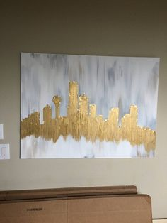 Your place to buy and sell all things handmade Skyline Painting, City Painting, Sketch Painting, Painting Tips, Painting Art, Dallas Skyline, Gold Acrylic Paint, Z Wallpaper, Art Studio Organization