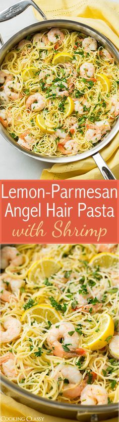 Lemon-Parmesan Angel Hair Pasta with Shrimp - this is so easy to throw together and it tastes AMAZING! I love the lemon shrimp combo.