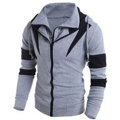 Contrast Color Paneled Drawstring Double Zip Hoodie (36 BAM) ❤ liked on Polyvore featuring men's fashion, men's clothing, men's hoodies, mens hoodies and mens sweatshirts and hoodies