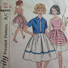 Pattern Simplicity 3450//Girls Dress Pattern//Vintage Girl by Waitingforgeorge on Etsy