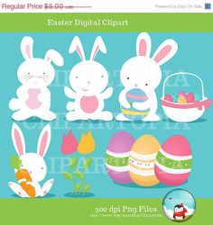 "50% OFF SALE Easter digital clipart  ""EASTER Clipart"" cute clipart bunny clipart for Personal and Commercial Use/instant download"