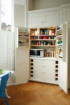 Big and Multifunctional Larder Cupboard Add Luxury of Your Kitchen - Page 13 of 25 Small Kitchen Pantry, Kitchen Larder, Larder Cupboard, Kitchen Pantry Design, Kitchen Organization Pantry, Shaker Kitchen, Kitchen Worktop, Kitchen Cupboards, Country Kitchen