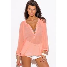 "Peach Chiffon Blouse #562-M Featuring pintuck detail and blouson sleeves. Wear it over a tank or bralette. Semi sheer, unlined, 100% Polyester. Made in USA. Model is 5'9"", chest 32C, waist 25"", hips 35"" and she is wearing a small. Bust 44"", waist 46"", length armpit down 15"". W by Wenjie Tops"