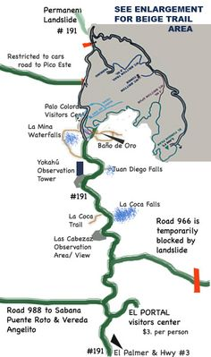 trail map of el yunque puerto rico rain forest and activity suggestions