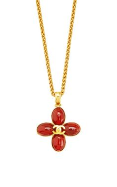 Vintage Chanel Gold & Red Gripoix CC Cross Necklace From What Goes Around Comes Around by Vintage Chanel - Moda Operandi