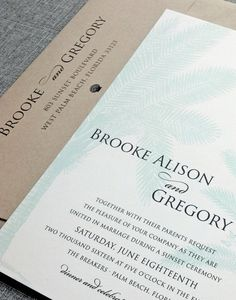 NEW Brooke Teal Palm Tree Wedding Invitation by Cricket Printing