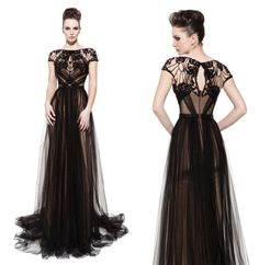 Cheap Evening Dresses - Discount Sexy Sheer Lacetulle Evening Dresses Black Seethrough Sheath Online with $168.7/Piece | DHgate