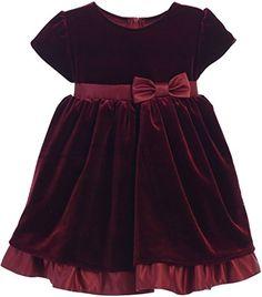 Flower Girl V-Neck All Stretch Velvet Dress for Baby & In…