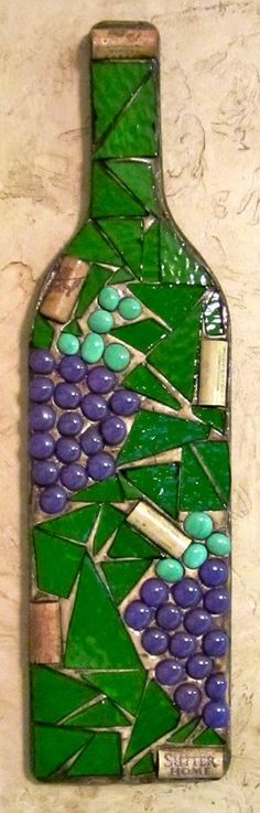Mosaic Wine Bottle Wall Hangings by ShumpertCreations on Etsy Mosaic Bottles, Mosaic Pots, Mosaic Wall Art, Mosaic Glass, Fused Glass, Wine Bottle Wall, Wine Bottle Crafts, Bottle Art, Wine Bottles