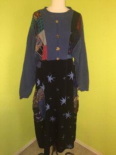 Vtg 80s Donna Jessica Sweater Dress Sz 1X Lagenlook Patchwork Boho  #DonnaJessica