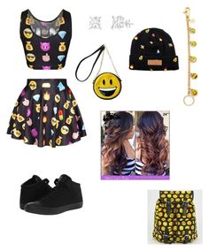 """""""Black emojis"""" by knijahb ❤ liked on Polyvore featuring Miller, Venessa Arizaga, Converse, Reason, women's clothing, women, female, woman, misses and juniors"""