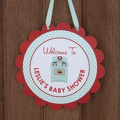 Bun In the Oven Baby Shower Welcome Door Sign - Red & Mint - Personalized - Printable