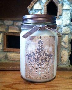 Shabby Chic Chandelier 16oz Mason Jar Natural Soy Wax Candle You Choose The Scent Weddings Showers Birthdays by Mrtoadshouseofsoywax on Etsy https://www.etsy.com/listing/181051406/shabby-chic-chandelier-16oz-mason-jar