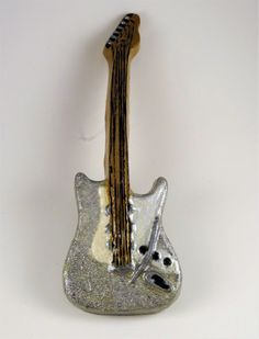 Silver Glitter Electric Guitar Ornament