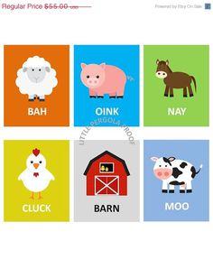 "SALE Nursery or Playroom Farm Animal Art Prints, Wall Art 8""x10"" Set of Four Prints Choose which four you like on Etsy, $41.25"