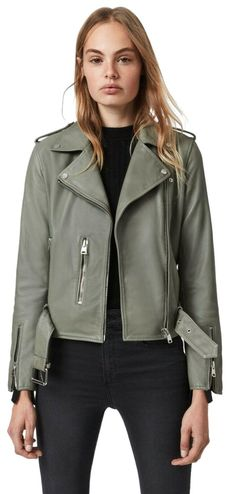 "This is a sage green AllSaints Balfern Leather Biker Jacket in size US 4. Runs small; order one size up. Rock a classically cool look with this buttery-soft leather moto jacket featuring silvertone hardware and a buckle belt to adjust the fit. Pit to pit is 18"" Sleeve to shoulder is 22"" Shoulder to shoulder is 15.5"" Back length is 19.5"" Asymmetrical front-zip closure Notch lapels Long sleeves with zip cuffs Front zip pockets Epaulets Buckle belt Lined Leather Professional leather clean  