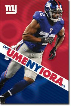 NFL New York Giants Osi Umenyiora Poster Nfl New York Giants f59abcf0c