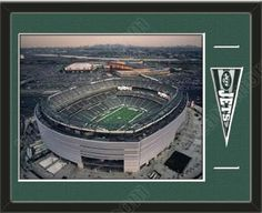 New York Jets MetLife Aerial View Large Stadium Poster-Framed With Team Mini Pennant