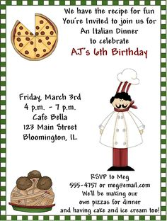 Awesome 8th birthday party invitations wording birthday italian party invitations google search birthday dinner stopboris Gallery
