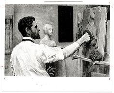 [Augustus Saint-Gaudens working on a bas-relief sculpture]