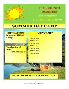 Oakhurst summer camp flyer template kids pinterest flyer summer camp is one of the best parts of summer for many kids you can be sure that parents will think of your camp first by sending out these bright flyers saigontimesfo