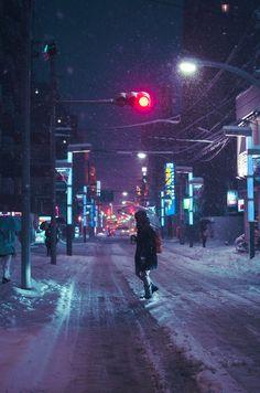 city, snow, night