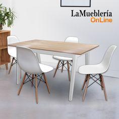 Juego de comedor mesa Artus 140 con 4 sillas Eames blancas en La Muebleria OnLine
