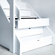 """Hidden Storage Drawers Under Stairs"" - i wonder about dirt getting in there but i still like the concept esp for a small house Stair Drawers, Stair Storage, Hidden Storage, Storage Drawers, Staircase Storage, Extra Storage, Stair Shelves, Basement Storage, Shoe Storage"