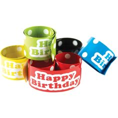 Slap bracelets fit most wrist sizes and are a fun way to reward good behavior or build awareness for special events. Measures x 2 each of 5 colors. 10 pieces per pack. Happy Birthday Teacher, 10th Birthday, Slap Bracelets, Teacher Created Resources, Back To School Sales, Teacher Supplies, Fun Learning, Dog Bowls, Special Events