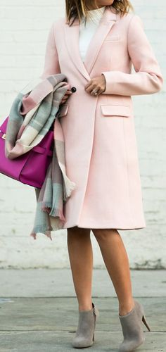 Lace & Locks Pink, Pop Of White And Gray Holiday Style Inspo