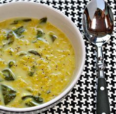Yellow Lentils and Spinach with coconut milk and Indian Spices make a delightful vegan soup in the slow cooker.  [From Soup Chick]