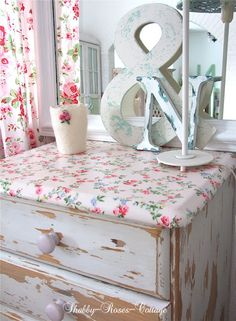 Shabby-Roses-Cottage...love the fabric on the top of dresser to add color or change the look of a room!