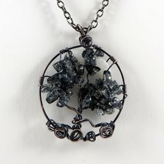 Tree of Life Necklace with Moon Midnight Gray by HCJewelrybyRose on Etsy