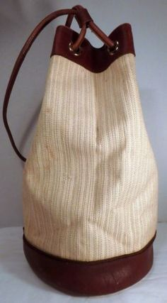 Adrienne Vittadini Vintage 80's Raffia & Leather Handbag Purse