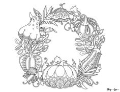 fall wreath Fall Leaves Coloring Pages, Thanksgiving Coloring Sheets, Pumpkin Coloring Pages, Coloring Book Pages, Coloring Pages For Kids, Pattern Coloring Pages, Free Printable Coloring Pages, Pumpkin Drawing, Style Floral