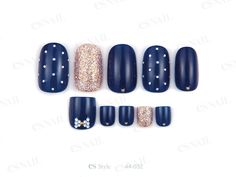 nail art design for short nails and toe nails, pedicure, navy blue, gold, gold dots #toenail #nailart #shortnail