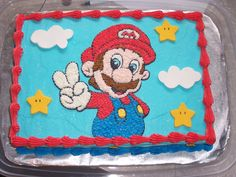 This is a 1/4 sheet cake iced with buttercream. The...