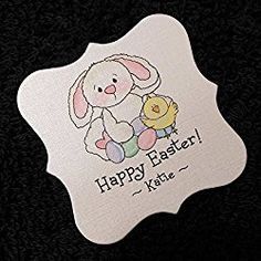 Easter Tags, White Bunny with Chick and Eggs, 25 Personalized 2 x 2 inch Easter Gift, Happy Easter, Easter Bunny, Easter Eggs, Cat Sweatshirt, Gift Tags, Snoopy, Handmade Gifts, Lowes Coupon