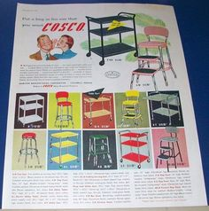 1955 Cosco Stool and Cart Ad~metal household furniture~vintage kitchen