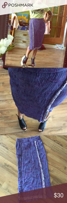 """Fun slinky vintage skirt Cute fun skirt!! Size petite small, purple tie dye looking design top to bottom measures 27"""" long. Waist measures flat 11"""" stretches to 19"""" Vintage Skirts Pencil"""