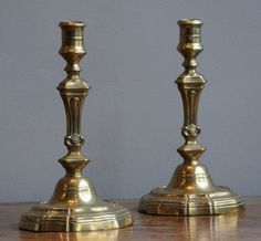 Pair of French brass candlesticks, 18th century (France)