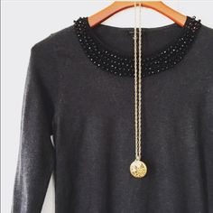 Ann Taylor beaded cable knit Black lightweight sweater with beaded collar. Ann Taylor Sweaters Crew & Scoop Necks