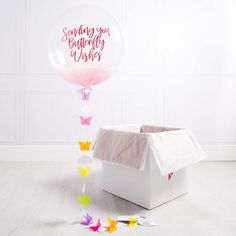 Personalised Butterfly Bubble Balloon - New Baby - Bubble Balloons - Inflated Balloons