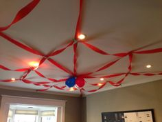 Love this ceiling idea for a Spider-Man Birthday Party.