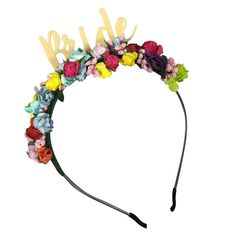 Bride Colourful Floral Tiara Headband perfect for the Bride to be.
