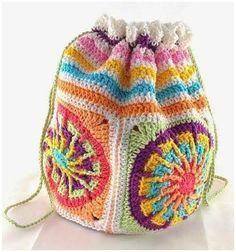 Crochet bag from windmill grannys - Amigurumi Form Crochet, Cute Crochet, Crochet Crafts, Crochet Hooks, Crochet Projects, Knit Crochet, Crochet Patterns, Crochet Handbags, Crochet Purses