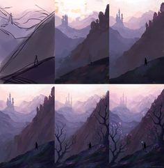 new horizons WIP! by arnaerr on DeviantArt Fantasy Art Landscapes, Landscape Drawings, Landscape Illustration, Landscape Art, Landscape Paintings, Digital Painting Tutorials, Digital Art Tutorial, Art Tutorials, Concept Art Tutorial