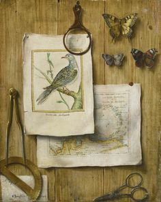 French School, late 18th century A TROMPE L'OEIL WITH MAGNIFYING GLASS, BUTTERFLIES, CARTOGRAPHIC INSTRUMENTS, A MAP, AND PRINTS  oil on canvas